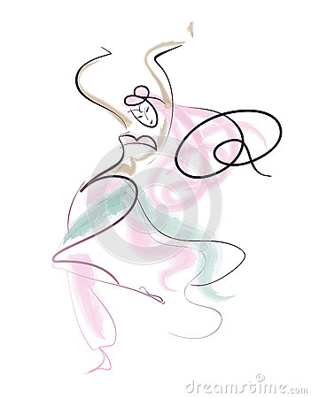 Line drawing oriental dance performer