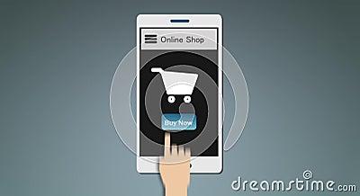 On-line-Einkaufen unter Verwendung beweglicher APP 2d Animation stock video