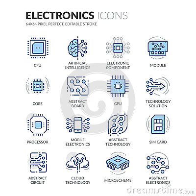 Free Line Electronics Icons Stock Images - 76430974