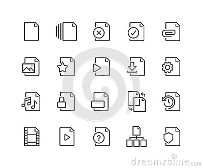 Line File Icons Vector Illustration