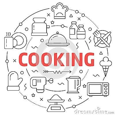 Free Line Flat Circle Illustration Cooking Royalty Free Stock Photo - 97668055