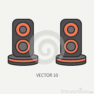 Free Line Flat Color Vector Computer Part Icon Audio Speakers. Cartoon. Digital Gaming And Business Office Pc Desktop Device Royalty Free Stock Photos - 92310288