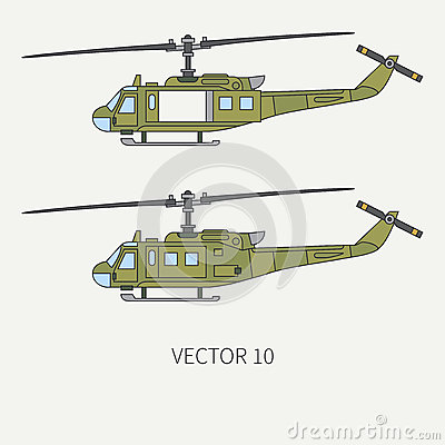 Free Line Flat Color Vector Icon Set Military Turboprop Transportation Helicopter. Army Equipment And Armament. Retro Copter Stock Photography - 92588952