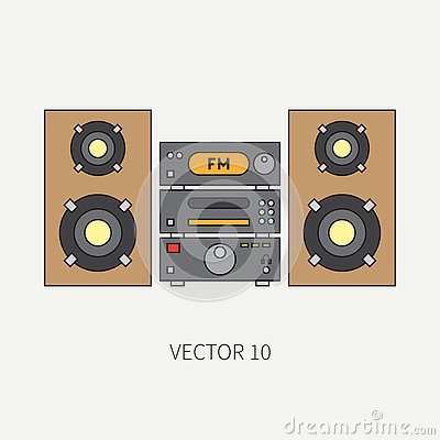 Line flat vector icon with retro electrical audio device block stereo. Analog broadcast. Music. Cartoon style. Nostalgia Vector Illustration