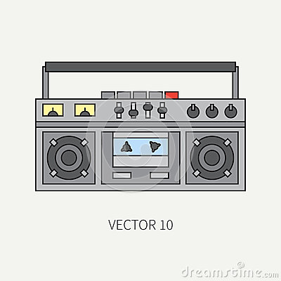 Line flat vector icon with retro electrical audio device boombox. Analog broadcast. Music. Cartoon style. Nostalgia Vector Illustration