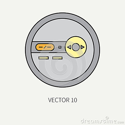 Line flat vector icon with retro electrical audio device portable cd player. Digital music. Cartoon style. Nostalgia Vector Illustration