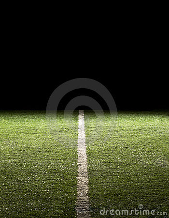 Line on a Football Field at night