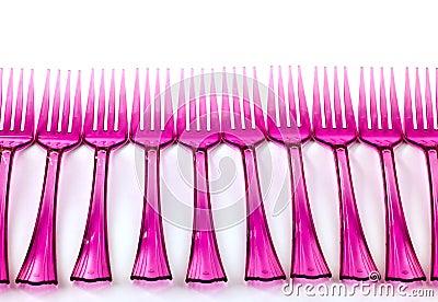 Line of plastic  forks