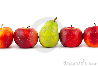Line of fruits - pear and apples