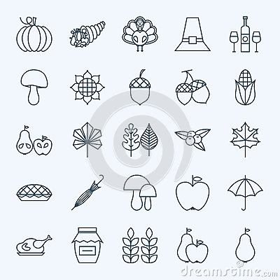 Free Line Holiday Thanksgiving Day Icons Set Stock Photography - 59480412