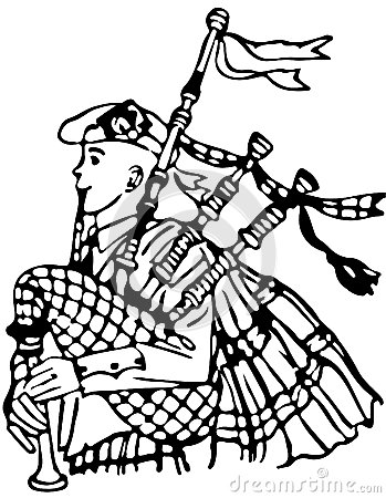 Line Illustration Of A Bagpipe Player /Eps
