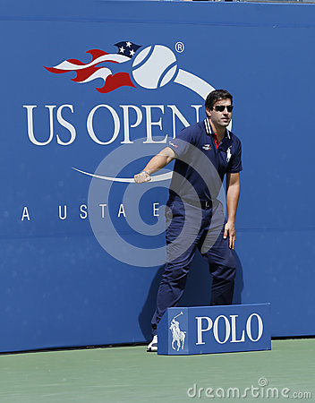 Line judge at the Arthur Ashe Stadium at Billie Jean King National Tennis Center Editorial Stock Photo