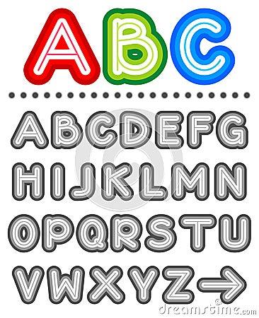 Line letters alphabet set