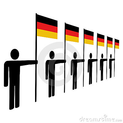 Line of men with German flags