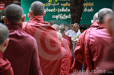 Line of monks, Myanmar Editorial Stock Image