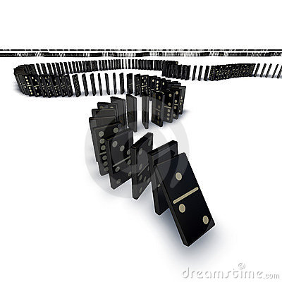 Free Line Of Dominoes Falling Royalty Free Stock Photography - 18782607