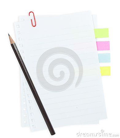 Line paper with paper clip and tag isolated on whi