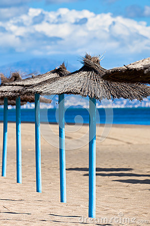 Line of Parasols at Spanish Sand Beach