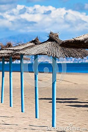Line of Parasols at Spanish Sand Beach