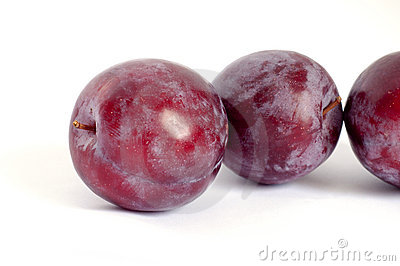 Line of red plums