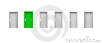 Line of Six Doors - One Green