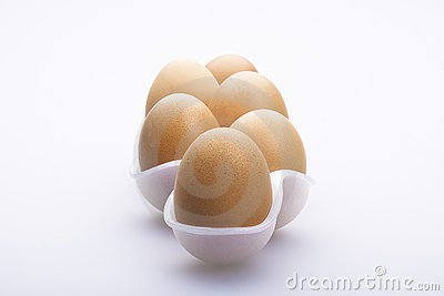 Line of six eggs