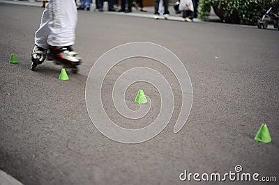 In-line skating slalom