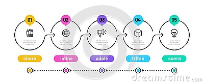 Line step infographic. 5 options workflow diagram, circle timeline number infograph, process steps chart. Linear vector Vector Illustration