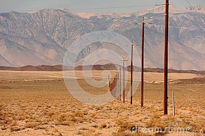 Line of telegraph poles across the desert