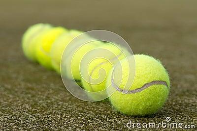 Line of tennis balls