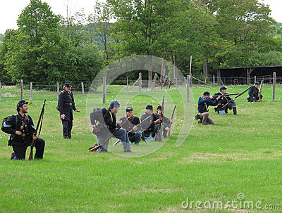 Line of Union Civil War soldiers Editorial Stock Image