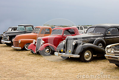 Line Up of Classic Automobiles Streetrods