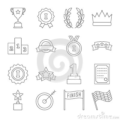Line victory icon set Vector Illustration