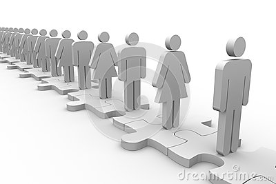 Line of white human forms standing over meshed jigsaw pieces