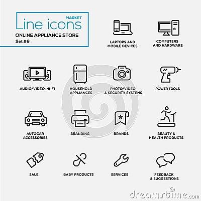 Linea online pittogrammi del deposito degli apparecchi di for Progettazione online