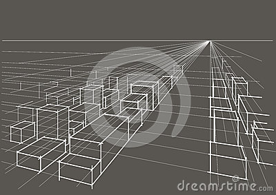 linear architectural sketch city landscape perspective on gray background Vector Illustration