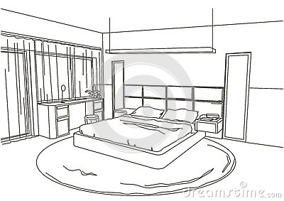 Stock Illustration Linear Architectural Sketch Interior Modern Bedroom White Background Image55245907