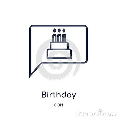 Linear birthday invitation icon from Birthday party outline collection. Thin line birthday invitation vector isolated on white Vector Illustration