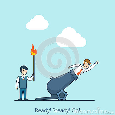 Free Linear Flat Ready Steady Go Man Burning Match Fly Stock Photo - 77657920