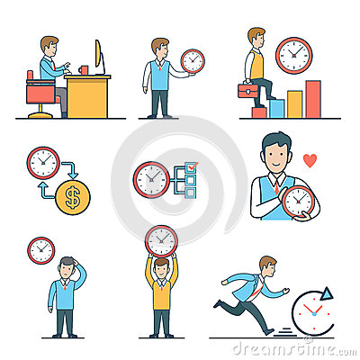 Free Linear Flat Time Management Vector Web Site Concep Royalty Free Stock Photos - 74773648