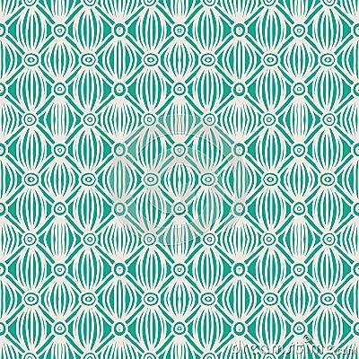 Linear green tribal seamless pattern