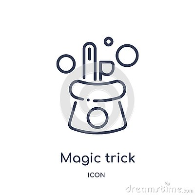 Linear magic trick icon from Magic outline collection. Thin line magic trick icon isolated on white background. magic trick trendy Vector Illustration