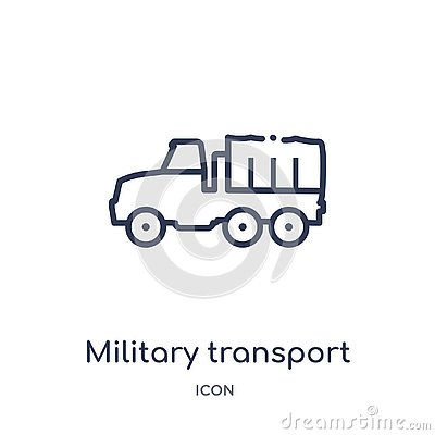 Linear military transport icon from Army outline collection. Thin line military transport vector isolated on white background. Vector Illustration