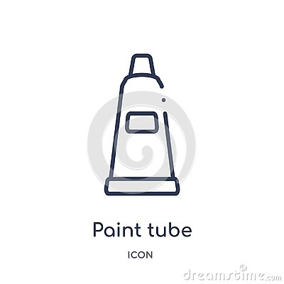 Linear paint tube icon from Education outline collection. Thin line paint tube vector isolated on white background. paint tube Vector Illustration