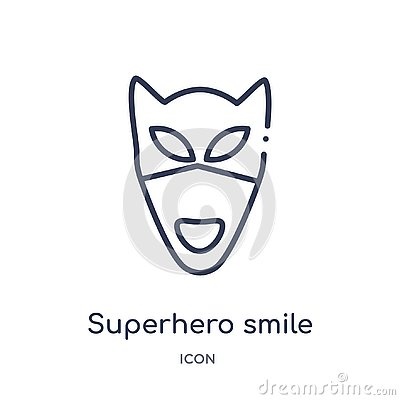 Linear superhero smile icon from Emoji outline collection. Thin line superhero smile vector isolated on white background. Vector Illustration