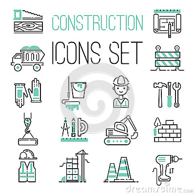 Free Linear Under Construction Icons Set Universal Web And Mobile Basic Ui Elements Vector Illustration. Stock Photo - 97321780