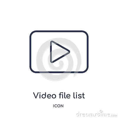 Linear video file list icon from Electronic stuff fill outline collection. Thin line video file list vector isolated on white Vector Illustration