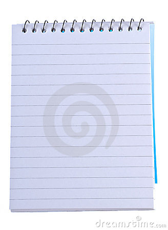 Lined note pad with spiral bin