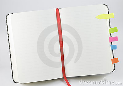 Lined open notepad