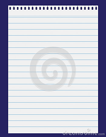 lined paper on blue backgroung